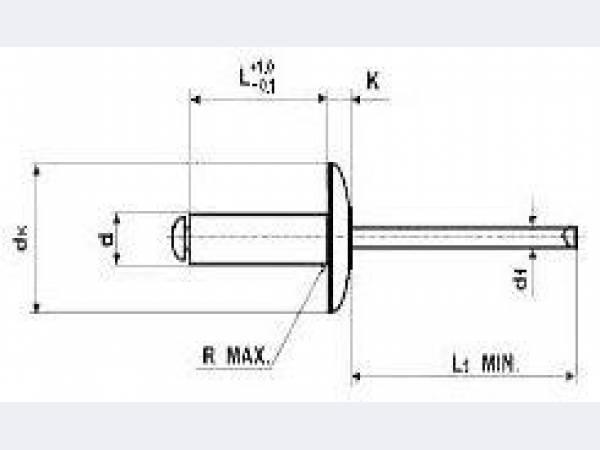 Заклёпка вытяжная (тяговая) стальная с увеличенным буртиком