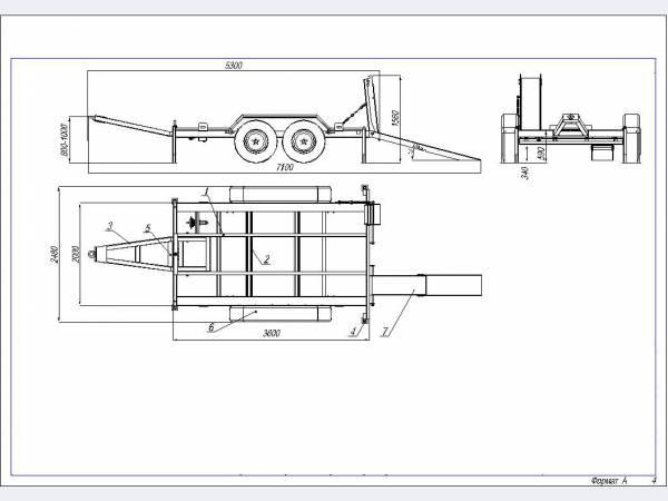 Низкорамный прицеп грузовой для перевозки техники г/п до 4 тонн