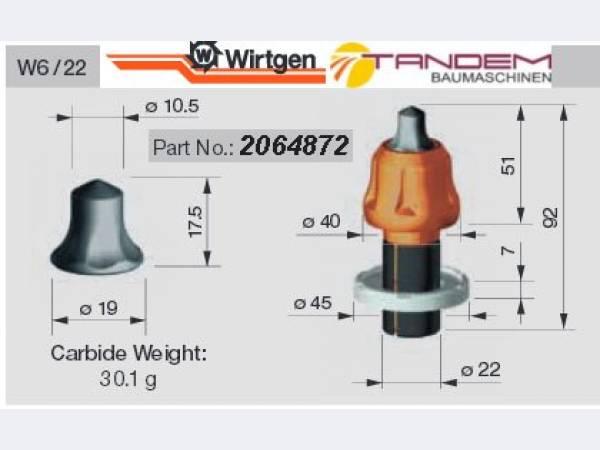 Резцы W6/22 для ресайклеров Wirtgen