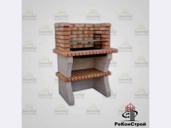 Печь-барбекю Percimentos Barcelos 129 из  печного кирпича.