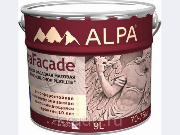 АЛЬПАФАСАД (ALPA) АЛЬПА - краска фасадная матовая на основе плиолита.