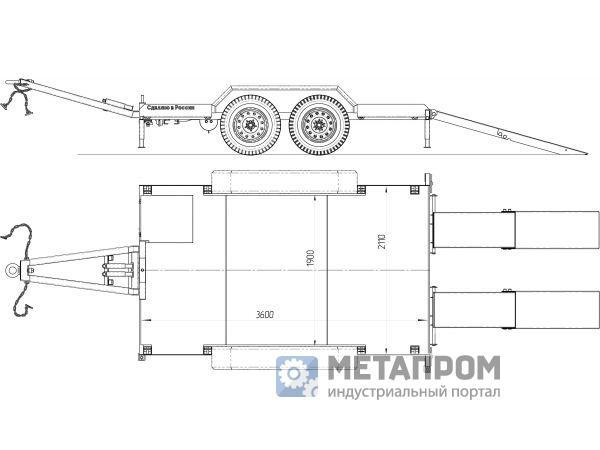 Низкорамный прицеп для мини техники грузоаодъемностью до 4,0 тонн