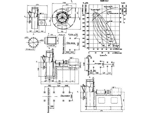 Вентилятор центробежный ВД, ВДН (с ходовой частью) - исполнение №3