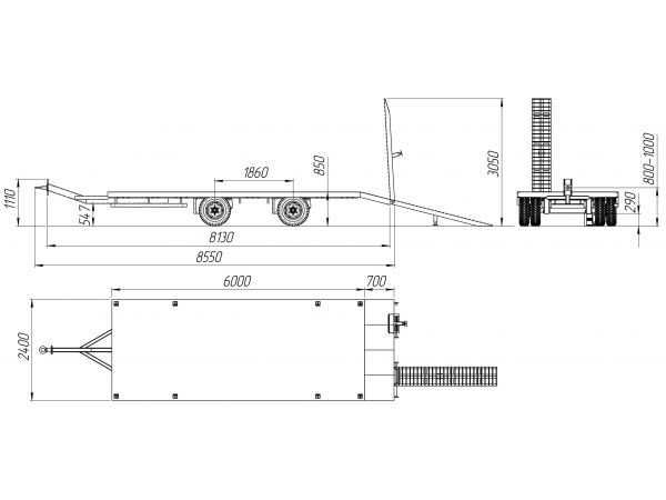Прицеп для перевозки спецтехники до 9 тонн модель Пт 2х9 КВ
