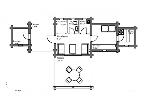 Банный дом из бруса Пломбир-52