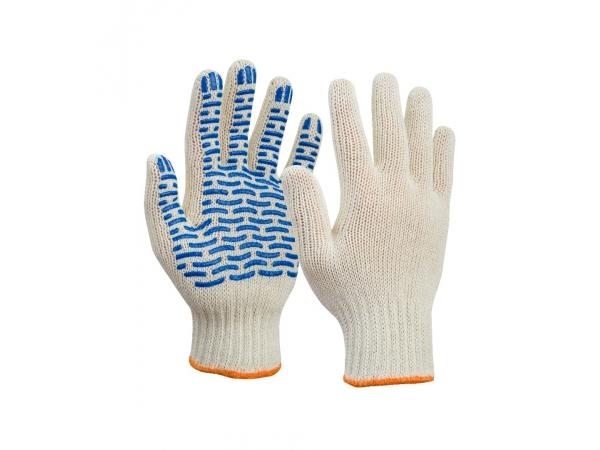 Перчатки Х/Б с ПВХ (волна) 5 нитей 10 класс