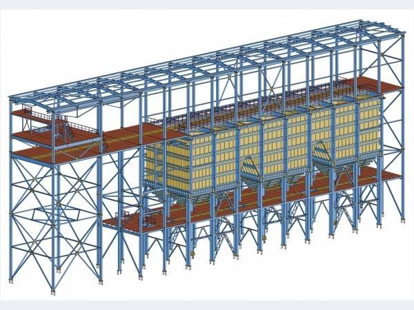 НЗМК изготовил металлоконструкции корпуса мелкого дробления с бункером руды